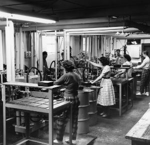 Women working the record presses at ARP