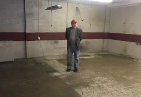 2019 - Pat Williams looking at what used to be Band Canyon's game room