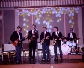 Fallouts at the Wenonah Hotel: (L to R)  Jack Zientak, Fritz Chapin, Tom Jarvis, Ken Crandall, and Ron Cunningham